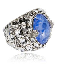 Roberto Cavalli - Gold Swarovski Crystal Blue Stone Cuff Bracelet - Lyst