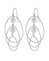 Splendid - Metallic Chandelier Double Pearl Earrings - Lyst
