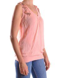 John Galliano - Women's Pink Viscose Tank Top - Lyst