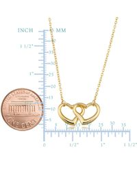 JewelryAffairs - 14k Yellow Gold Double Heart Pendant Necklace, 17 - Lyst