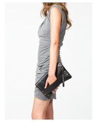 Mofe - Brown Trifecta Perforated Leather Hand Strap Clutch With Rivet Studs And Detachable Wristlet - Lyst