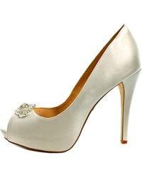 Badgley Mischka - White Goodie Peep-toe Canvas Heels - Lyst