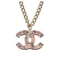 Chanel - Silver-tone Pink Enamel Cc Necklace - Lyst