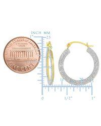 JewelryAffairs - 10k 2 Tone Yellow And White Gold Glitter Round Hoop Earrings, Diameter 15mm - Lyst