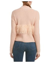 Kendall + Kylie - Multicolor Fuzzy Trim Wool Sweater - Lyst