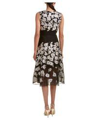 Lela Rose   Black Silk-blend Midi Dress   Lyst