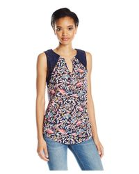 Lucky Brand - Blue Leaf Print Embroidered Sleeveless Shell Top - Lyst