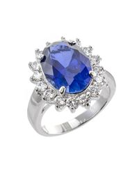 CZ by Kenneth Jay Lane | Blue 12cttw Oval Cz Ring With Pave Border | Lyst