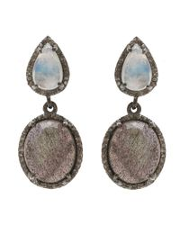Adornia - Gray Moonstone And Labradorite Sari Earrings - Lyst