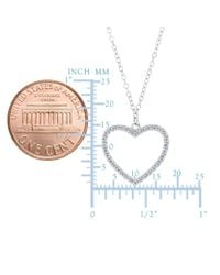 """JewelryAffairs - Metallic Heart And Cz Necklace In Sterling Silver, 18"""" - Lyst"""
