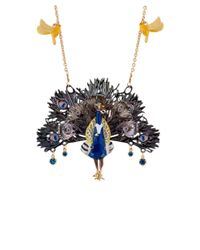 Les Nereides - Blue Kind And Happy Leon The Peacock Spreading Its Tail Necklace - Lyst