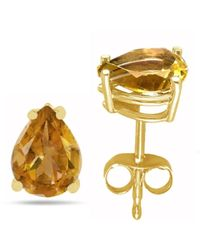 Tia Collections - 9x6 Pear Shape Citrine Earrings In 14k Yellow Gold - Lyst