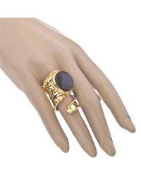 Jewelista - Yellow 18k Gold Plate Adjustable Onyx Ring - Lyst