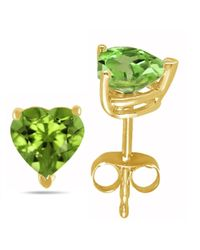 Tia Collections - 7x7 Heart Shape Peridot Earrings In 14k Yellow Gold - Lyst