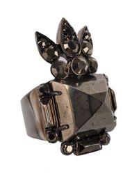 Roberto Cavalli - Gray Gunmetal Spike Embellished Metallic Stone Ring - Lyst