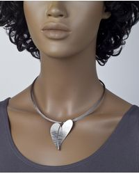 Jewelista - Multicolor Stainless Steel Wire Heart Pendant Necklace - Lyst