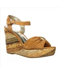 Alfani - Metallic A35 Janeira Wedge Sandals, Fawn - Lyst