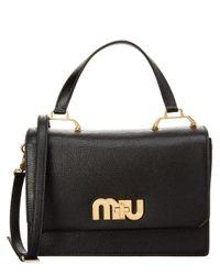 Miu Miu - Black Madras Leather Logo Satchel - Lyst