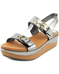 Stuart Weitzman | Gray Gatekeeper Open Toe Leather Wedge Sandal | Lyst