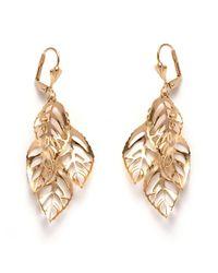 Peermont - Green Gold Leaf Drop Earrings - Lyst
