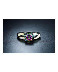 Peermont - Metallic Black Rhodium White Opal & Mystic Topaz Ring - Lyst