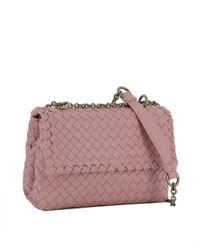 Bottega Veneta - Women's Pink Leather Shoulder Bag - Lyst