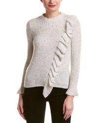 Rebecca Taylor - White Ruffle Wool-blend Sweater - Lyst