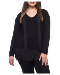 Bobeau - Black Brooks Mixed Media Plus Size Sweater - Lyst