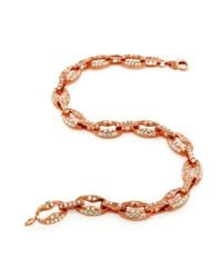"""Suzy Levian - Pink Pave Cubic Zirconia Rose Sterling Silver Gucci Link 7"""""""""""""""" Bracelet - Lyst"""
