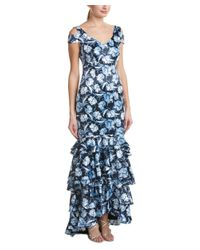 Kay Unger - Blue V-neck Cap Sleeve Cold-shoulder Floral Ruffle Hem Gown - Lyst