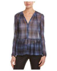 Rebecca Taylor | Blue Shadow Plaid Silk Top | Lyst