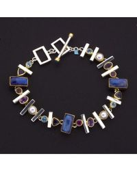 Jewelista - White Silver Bracelet With Multicolored Gemstones for Men - Lyst