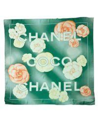 Chanel - Green Camellia Silk Scarf - Lyst