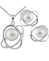 Splendid - White Fancy Swirl Silver Designed Pearl Pendant And Earrings - Lyst