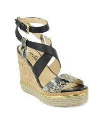Hogan - Women's Black Leather Wedges - Lyst