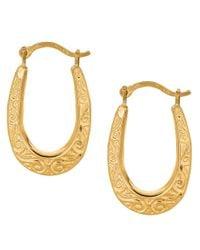 JewelryAffairs - 10k Yellow Gold Shiny Swirl Design Oval Hoop Earrings, Diameter 20mm - Lyst
