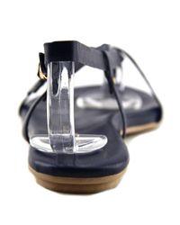 J/Slides - Blue Capri Women Open Toe Leather Thong Sandal - Lyst