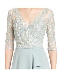 Teri Jon - Pink Sequined Lace Ruffle Gown - Lyst