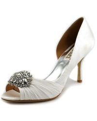 Badgley Mischka - Pearson Women Peep-toe Canvas White Heels - Lyst