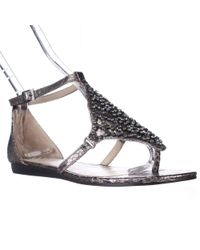 Vince Camuto - Metallic Valeen Ankle Strap Flat Sandals - Steel - Lyst