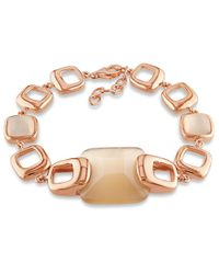Catherine Malandrino - Pink Simulated Champagne Cat Eye Square Link Bracelet - Lyst