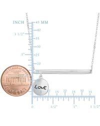 JewelryAffairs - White Sterling Silver Sideways Bar Dangling Love Charm Necklace, 18 - Lyst