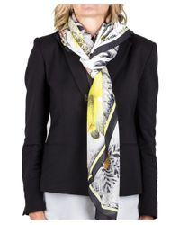 Roberto Cavalli   White Women's Floral Reptile Print Silk Scarf   Lyst