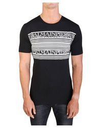Balmain - Men's Graphic Crewneck T-shirt Black for Men - Lyst