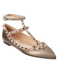 Valentino - Rockstud Metallic Leather Ballerina Flat - Lyst