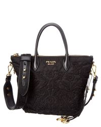 Prada | Black Embellished Nylon & Saffiano Leather Double Handle Tote | Lyst