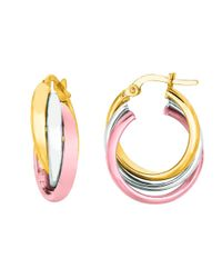 JewelryAffairs - 14k Yellow And White Rose Gold Triple Row Hoop Earrings - Lyst