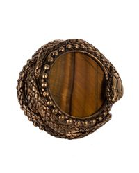 Roberto Cavalli - Metallic Brass Serpent Encircled Chatoyant Quartz Rings - Lyst