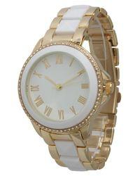 Olivia Pratt - White Elegant Pyramid Stud Bracelet Watch - Lyst