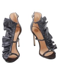 Elisabetta Franchi - Women's Black Leather Sandals - Lyst